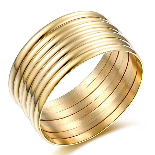 (Carfeny 14k Gold Plated Stackable Bangle Bracelets for Women 7Pcs/Set,Womens Jewelry )