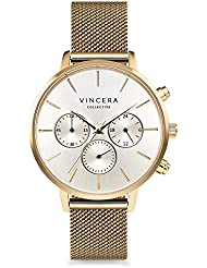 Vincero Luxury Woman's Kleio Wrist Watch — Yellow Gold + Silver dial with a Yellow Gold Mesh Watch Band — 38mm...