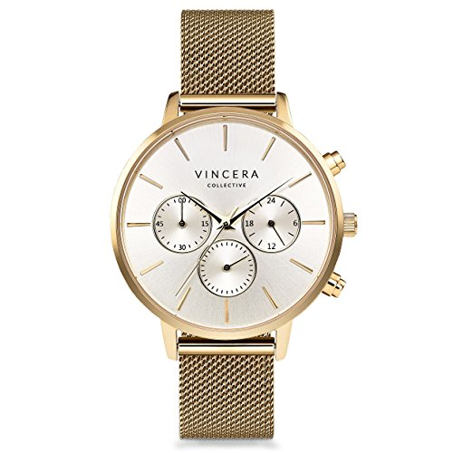 Silver Yellow Wrist Watch - Vincero Luxury Woman's Kleio Wrist Watch - Yellow Gold + Silver dial with a Yellow Gold Mesh Watch Band - 38mm Chronograph Watch - Japanese Quartz Movement