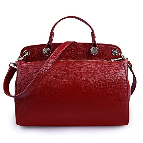 AB Earth Genuine Leather Designer Handbag for Women Doctor Style Top-handle Tote Cross Body Shoulder Bag(Wine)