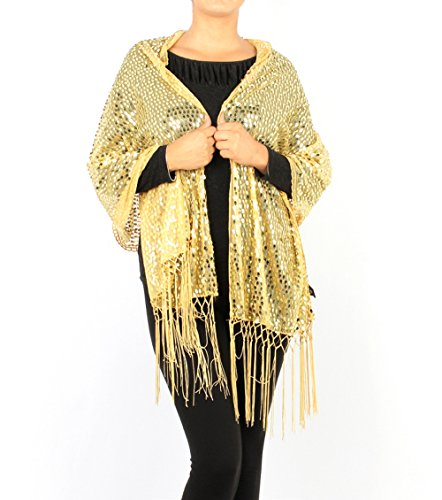Women's Sheer Mesh Sequin Evening Wrap Shawl w/Fringe Party Scarf (Gold)