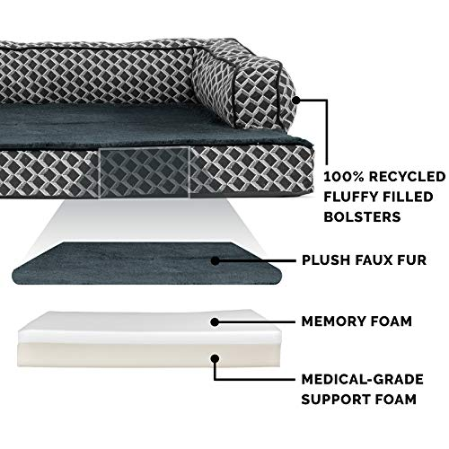 Furhaven Pet Dog Bed - Memory Foam Plush Faux Fur and Décor Comfy Couch Traditional Sofa-Style Living Room Couch Pet Bed with Removable Cover for Dogs and Cats, Diamond Grey, Medium