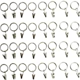 32-pack (1'') 1 Inch Chrome or Silver Metal Curtain Rings with Clips (32 Drapery Rings with Clips)