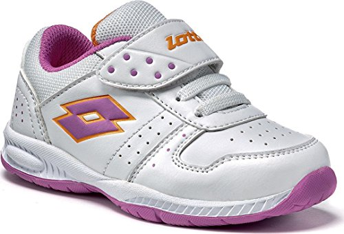 Lotto Mädchen / Kinder Sportschuh / Turnschuh / Freizeitschuh / Sneaker Set ACE VII INF S, Gr. 21 (UK 4.5/US 5.5C/CM 13), weiss/cyclamen, R5718, Velcro Klettverschluss