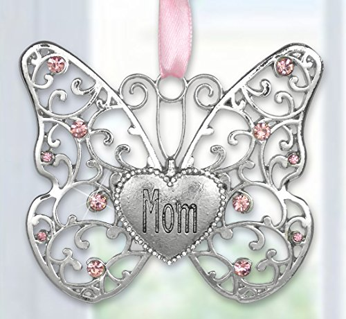 Mom Butterfly - Silver Filigree Butterfly with Pink Crystals - Engraved with Mom on the Heart Charm - 3
