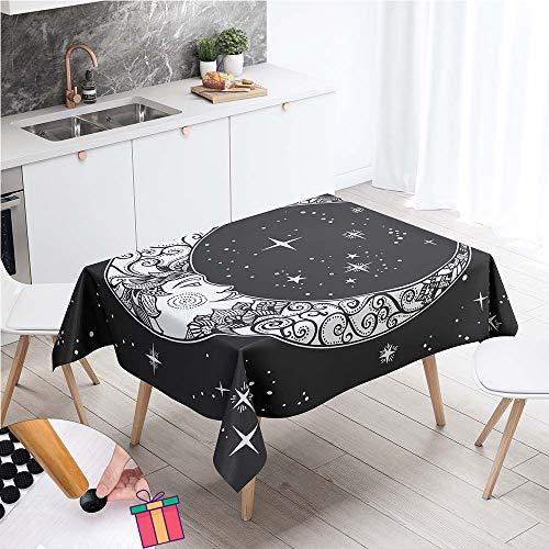 Enhome Boho Impermeable Mantel Mesa Rectangular Tela, Antimanchas Lavable Manteles Square 3D Estilo Exotico Manteles para Cocina o Salon Comedor Decoracion del Mesa (Boho Moon,100x140cm)