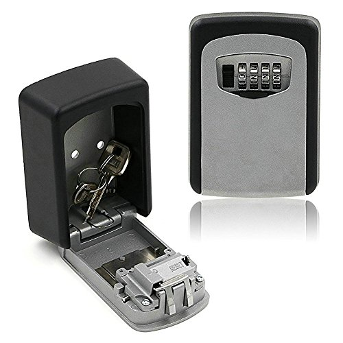 Wellgler Key Storage Lock Box with 4 Digit Combination, Key Safe Box for Wall Mounted Weather Resistant, Secure Keys Holder for Home used with Exterior Waterproof Cover and Mounting Kit (Usps Master Lock)