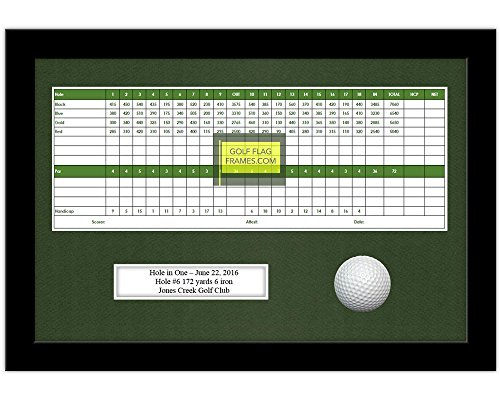 - 10x15 Black Golf Scorecard Golf Ball Frame, Moulding blk-004 Shadowbox, Green Mat (holds up to 5x12 card; card & ball not incl)