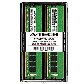 Image of A-Tech 32GB DDR4 2666MHz Desktop Memory Kit (2 x 16GB) PC4-21300 Non-ECC Unbuffered DIMM 288-Pin 2Rx8 1.2V Dual Rank Computer RAM Upgrade Sticks (AT16G2D4D2666ND8N12V) Memory