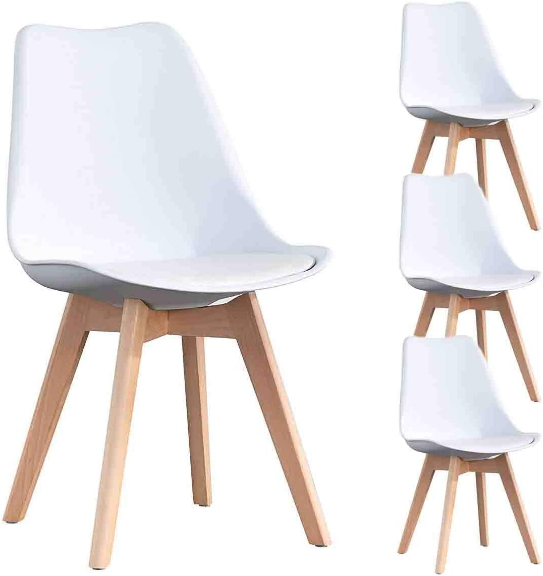 N A to MUEBLES HOME Dining Chairs Set of 4 Tulip Modern Assembled Kitchen Chairs Shell Lounge Chair with Wooden Legs and Backrest Soft Cushion for Dining, Bedroom, Living Room Side Chairs, White