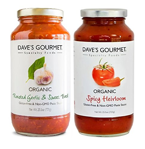 Dave's Gourmet Pasta Sauce 2- Flavor Variety Pack, Roasted Garlic & Sweet Basil, Spicy Heirloom Marinara, 25.5 oz Jars (Pack of ()