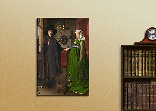 The Arnolfini Portrait (or The Arnolfini Wedding The Arnolfini Marriage) by Jan Van Eyck Famous Fine Art Reproduction World Famous Painting Replica on Print Wood Framed