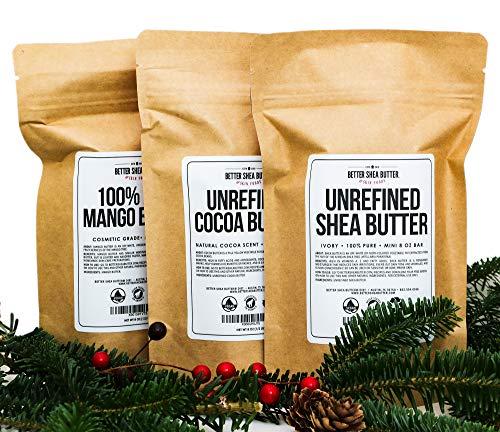 Shea, Cocoa, Mango Butters Set by Better Shea Butter - each