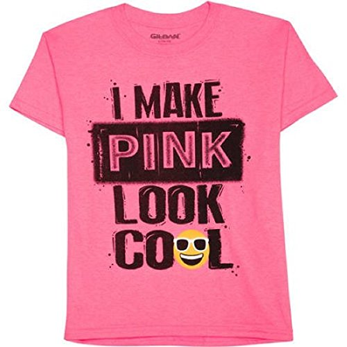 Boys I Make Pink Look Cool Emoji Short Sleeve Graphic Crew T-Shirt