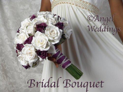 Beautiful-ANGELINA-DARK-PURPLE-Complete-Wedding-Package-Bridal-Bridesmaid-Groom-Corsage-silk-flowers