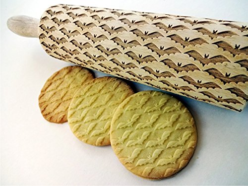 Rolling pin BATS pattern. Wooden embossing rolling pin with BATS pattern. Embossed cookies. Pottery.
