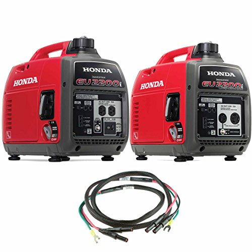 Honda EU2200i 2200W 120-Volt Portable Inverter Generator with Companion and Parallel Cables by Honda