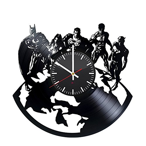 Justice League HANDMADE Vinyl Record Wall Clock - Get unique room home decor - Gift ideas for men, boys and girls - Unique COMICS art design - Leave us a feedback and win your custom clock