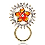 NOUMANDA Pretty Yellow Flower Shining Crystal Circle Eyeglass Sunglass Holder Romantic Brooch Pin Jewelry (gold)