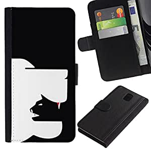 A-type (Clever Modern Cat Dog Art In Yang Black) Colorida Impresión Funda Cuero Monedero Caja Bolsa Cubierta Caja Piel Card Slots Para Samsung Galaxy Note 3 III
