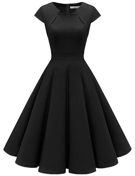 buy online 0907a 69788 HomRain Damen 50er Vintage Retro Kleid Party Kurzarm ...