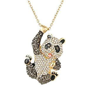 EVER FAITH Austrian Crystal Lovely Panda Pendant Necklace