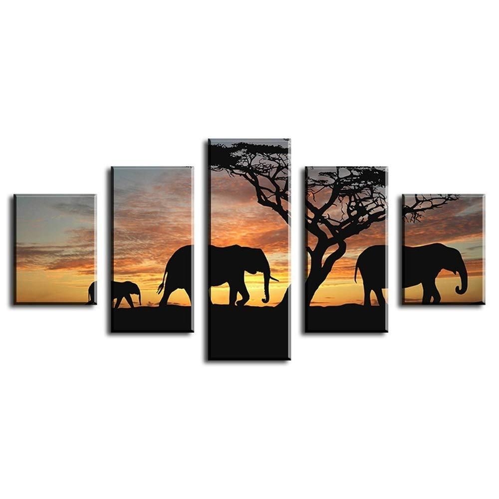 ZZXINK 5 Piece Modern Home Wall Decor elephants walking Picture Art HD Print Canvas Arts