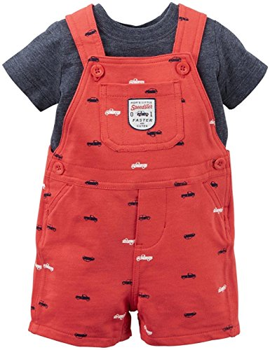 (Carter's Baby Boys' 2 Piece Shortall Set 121g351, Cars, New Born)