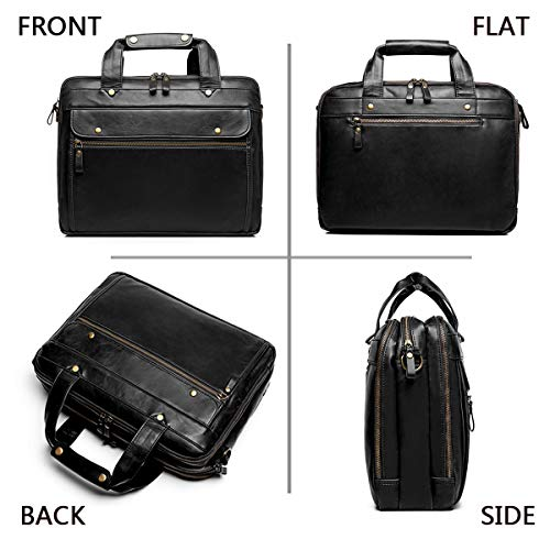 Leather Briefcase for Men Computer Bag Laptop Bag Waterproof Retro Business Travel Messenger Bag Large Tote 15.6 Inch,Perfect for Daily Use/Christmas (Black)