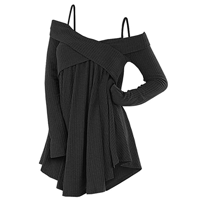 e0d3a81b8bb DressLily Cold Shoulder Crisscross Tunic Sweater Women Straps Long Sleeve  Knitwear Pullover Shirt Tops Black S