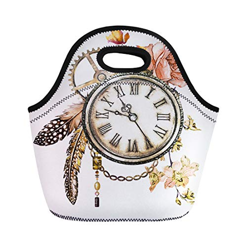 Semtomn Neoprene Lunch Tote Bag Steam Punk Watercolor Roses Feathers Clockwork Jewelry Clock Flowers Reusable Cooler Bags Insulated Thermal Picnic Handbag for Travel,School,Outdoors, Work