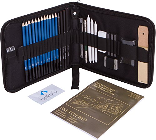 Bellofy 33-piece Professional Art Kit - Drawing and Sketch Kit with Pencils, Erasers, Kit Bag and Free Sketchpad - Art Supplies, Drawing Pencils, Graphite Pencils, Sketching Supplies - Creative Metal Kit