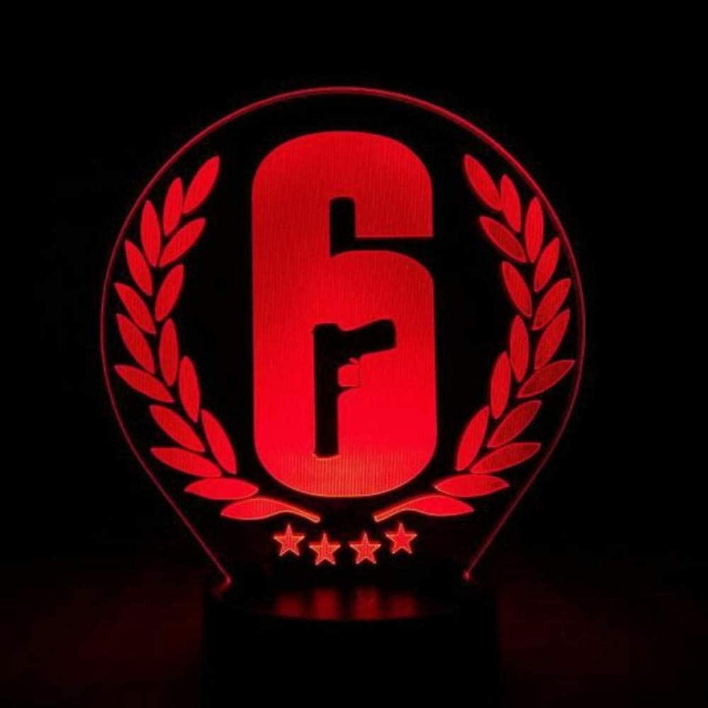 Llwwrr1 Rainbow Six Siege Night Light Led Touch Sensor 7 Color Changing Child Kids Gift Fps Game Table Lamp Rainbow 6 Logo Bedroom Decor Night Lights Amazon Canada