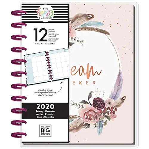 Create 365 PlannerDream Seeker ; 2020 Dated ; 12 Month Planner ; Monthly Layout ; Large Planner