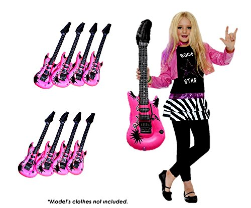 Toy Cubby Inflatable Guitar - Set of 6 - Kids Pool Party Favor Accessory Prop Girl Pink Rock n' Roll Toy - 22 inches -