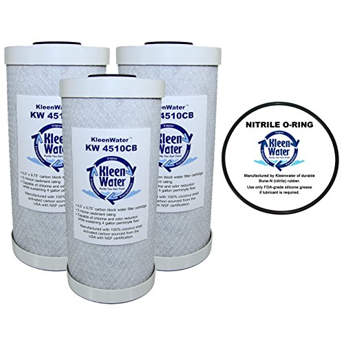 Whirlpool WHEF-WHPCBB Compatible Filter, KleenWater Carbon Block Water Filters, Chlorine Sulfur Chemical Removal Cartridges 3 Pack, WHKF-DWHBB Replacement O-ring Qty 1
