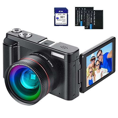 Digital Vlogging Camera YouTube Vlog Camera HD 1080P 30FPS 24MP Camcorder with 3.0″ IPS Flip Screen, WiFi Function, Wide Angle Lens,16X Digital Zoom, 32GB SD Card, 2 Batteries