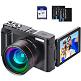 "Digital Vlogging Camera YouTube Vlog Camera HD 1080P 30FPS 24MP Camcorder with 3.0"" IPS Flip Screen, WiFi Function, Wide Angle Lens,16X Digital Zoom, 32GB SD Card, 2 Batteries"