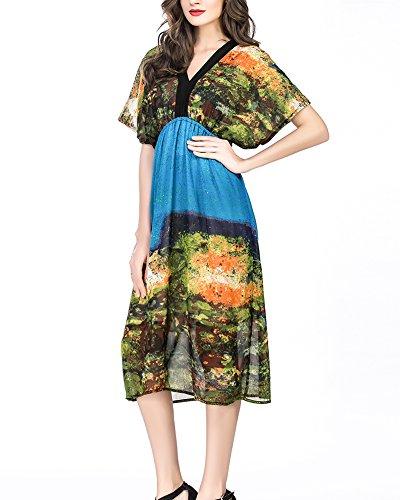 Damen VAusschnitt Boho Blumen Maxi Cocktailkleid Strandkleider ...