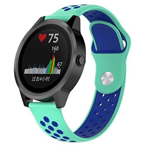 QGHXO 20mm Soft Silicone Strap for Garmin VivoActive 3/Garmin VivoMove/Garmin VivoMove HR/Garmin Forerunner 645 Music/Samsung Gear Sport/Gear S2 Classic Smartwatch (01 Teal&Blue, Width: 20mm)