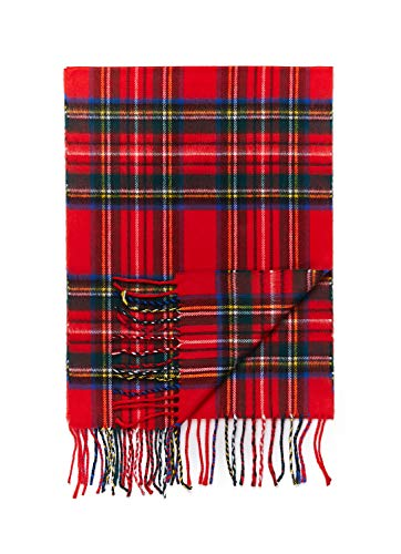 2 PLY 100% Cashmere Winter Scarf Elegant Collection Made in Scotland Warm Soft Wool Solid Plaid (Red Green Blue 316)