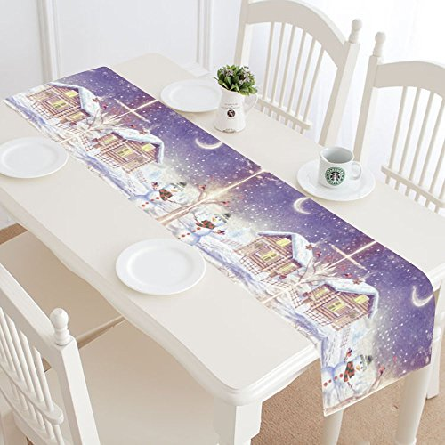InterestPrint Christmas Snowman Table Runner Home Decor 14 X 72 Inch,Galaxy Christmas Snowflake Table Cloth Runner for Wedding Party Banquet Decoration