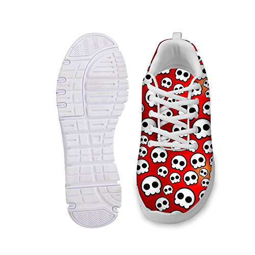 Bigcardesigns Cool Red Lace up Skull Walking Athletic Running Sport Shose 42 gyh3Zba
