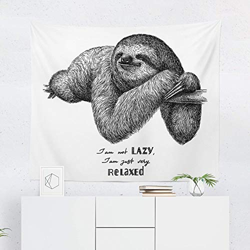 Lazy Sloth Tapestry Wall Hanging Funny Relaxed Cute Sloths Tapestries Decor College Dorm Living Room Art Gift Bedroom Dormitory Bedspread Small Medium Large - Printed in the USA