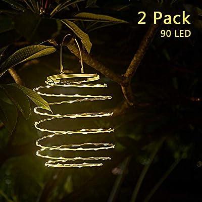 Nurluce Solar Lanterns Outdoor Hanging 2 Pack Rechargeable Outdoor Lanterns Lights 90 LED Lantern Warm White Outdoor Pendant Lightings Waterproof Solar Novelty Pathway Patio Decor Garden Decor Lights