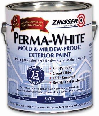 """ZINSSER, WILLIAM & CO 3104 """"PERMA-WHITE"""" MILDEW-PROOF EXTERIOR PAINT 1Qt. (Pack of 6)"""