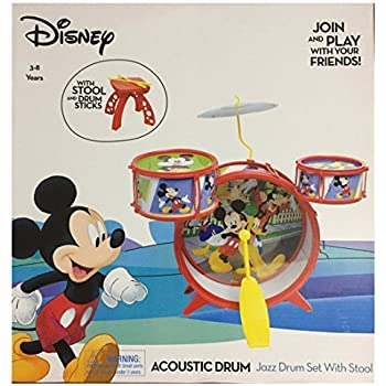 disney mickey mouse acoustic jazz drum set with stool and drum sticks home kitchen. Black Bedroom Furniture Sets. Home Design Ideas