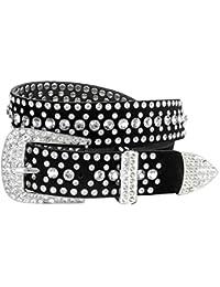 "Women Rhinestone Belt Fashion Western Cowgirl Bling Studded Design Suede Leather Belt 1-1/4""(32mm) wide"