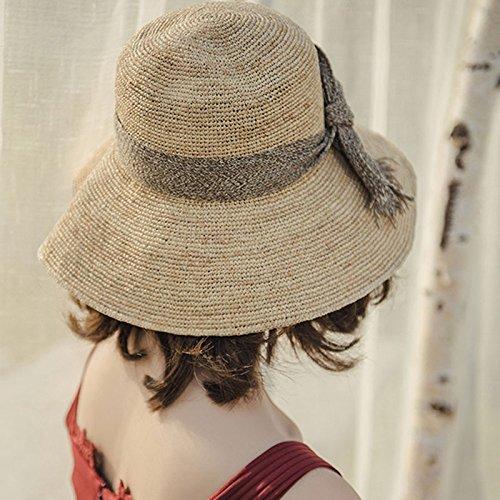 e1c9638c4d9a2 GAOQQ Sombrero De Paja Rafi Verano Femenino Pequeño Y Fresco Plegable Beach  Trip Hat Sombrero Femenino Sombrero Impermeable  Amazon.es  Jardín