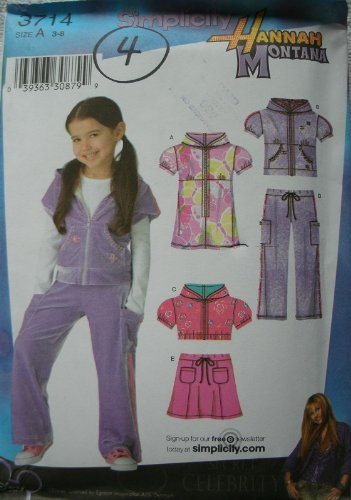 Hannah Montana Pants - Simplicity Hannah Montana Pattern 3714 Girls Knit Mini Dress, Hoody in 2 Lengths, Pants and Skirt Size 3-8